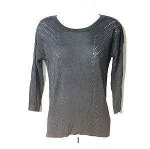 Express   Gray 3/4 Sleeve Top   S